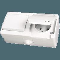 Блок влагозащищенный Выключатель + Розетка с заземлением белый Gunsan Nemliyer