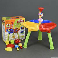 Игровой развивающий столик песочница со стульчиком для игр с песком, 7 предметов