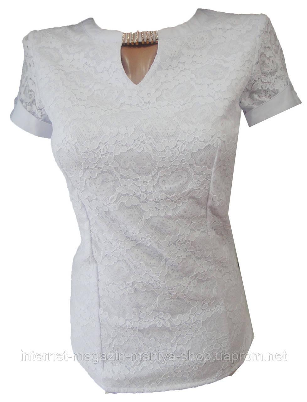 Блузка женская E7320 короткий рукав кружево украшение норма