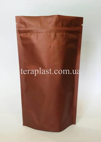 Дой-Пак 250г коричневый 140х240 с зип замком, фото 2