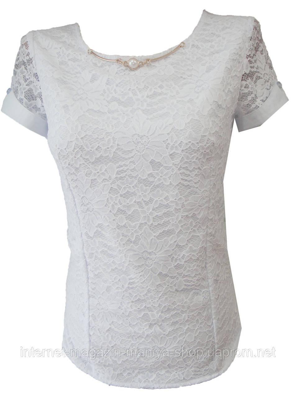 Блузка женская E3780 короткий рукав кружево украшение норма