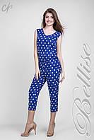 Модный женский летний комбинезон с укороченными брюками в горохи ярко синего  цвета