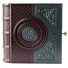 """Кожаная Книга-бар """"Венеция"""". Цвет коричнево-зеленый"""