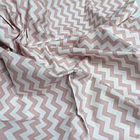 """Ткань хлопковая Турция """"Розовый зигзаг"""" на белом 240 см  № WH-02"""