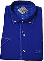 "Рубашка мужская ""Pierre Martin"". Синяя. Короткий рукав."