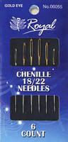 Chenille 18/22 (6шт) Набор игл для вышивания лентами с золотым ушком Royal (Япония) 06055