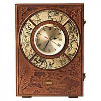 Кожаная Книга-бар с часами 580-11-01