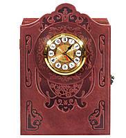 Кожаная Книга-бар с часами 580-07-01