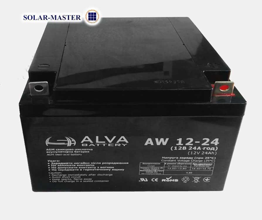AGM аккумулятор ALVA AW 12В-24Aч