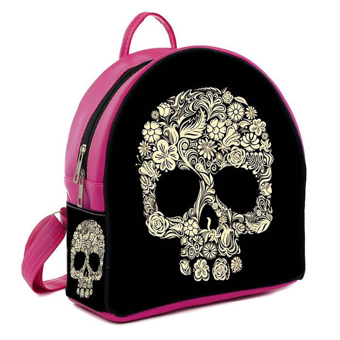 Розовый модный городской рюкзак с принтом Череп  цена, продажа, фото ... 95a9147169e