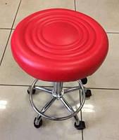 Стул для мастера маникюра, педикюра, косметолога без спинки с кругом для ног, на колесиках.