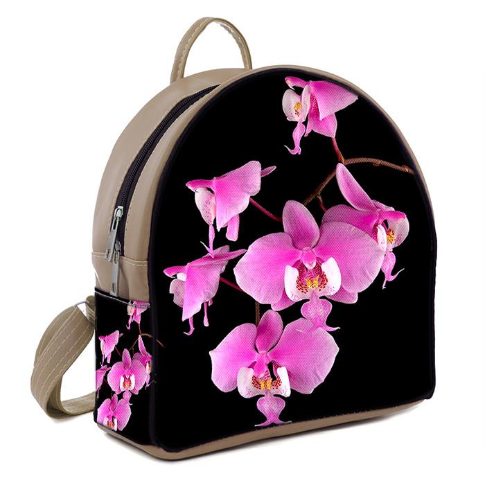 Бежевый городской рюкзак с принтом Розовая орхидея