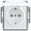 Розетка с заземляющими контактами со шторкой и крышкой АВВ Element Белый/Серо Ледяной (5518E-A03499 04)