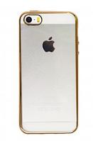Силиконовый прозрачный чехол с окантовкой для 5/5s Gold