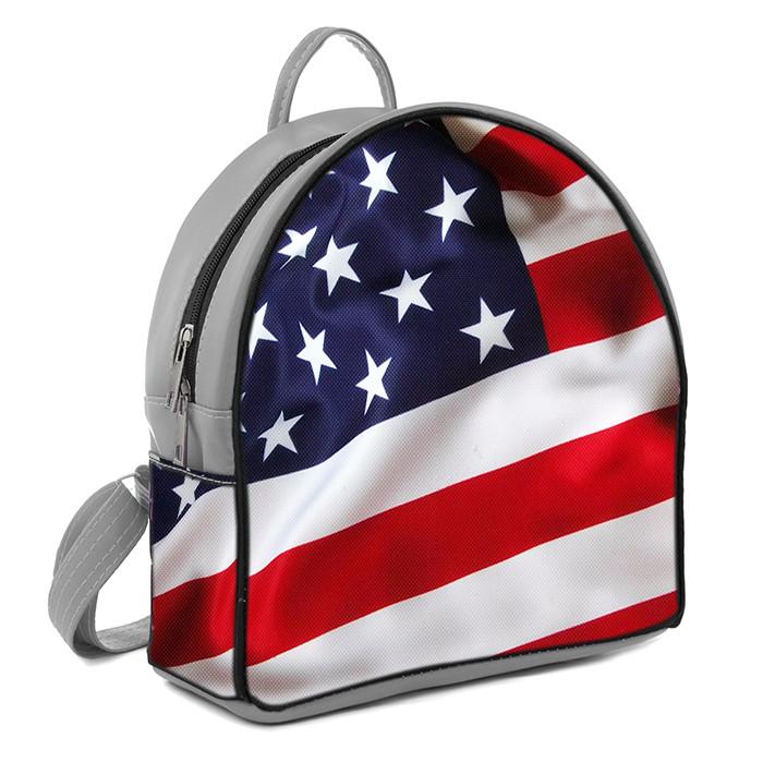 Серый городской рюкзак с принтом флаг Америки