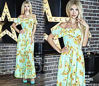 Шифоновое платье женское с цветочным принтом