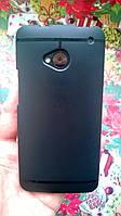 Чохол для HTC M7 чорний силікон+захисна плівка, фото 1