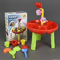 Игровой развивающий столик песочница для игр с песком и водой, 8 предметов