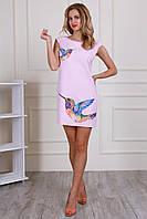 Интирессное розовое женское платье до колена Размеры: 44,46,48,50