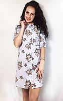 Молодежное платье-рубашка в полоску с цветками