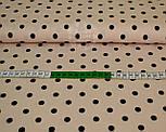 Трикотажное полотно сингл джерси с черным горошком на фоне светлой пудры (Польша), фото 2