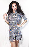 Молодежное платье-рубашка в полоску с цветками, фото 1