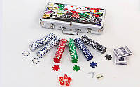 Набор для покера в алюминиевом кейсе на 300 фишек без номинала