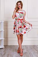 Летнее платье пастельного розового цвета с пышной юбкой под пояс Размеры: 44,46,48