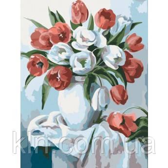 Картина по номерам без коробки Букет ярких тюльпанов 30 х 40 см (арт. KHO2046)