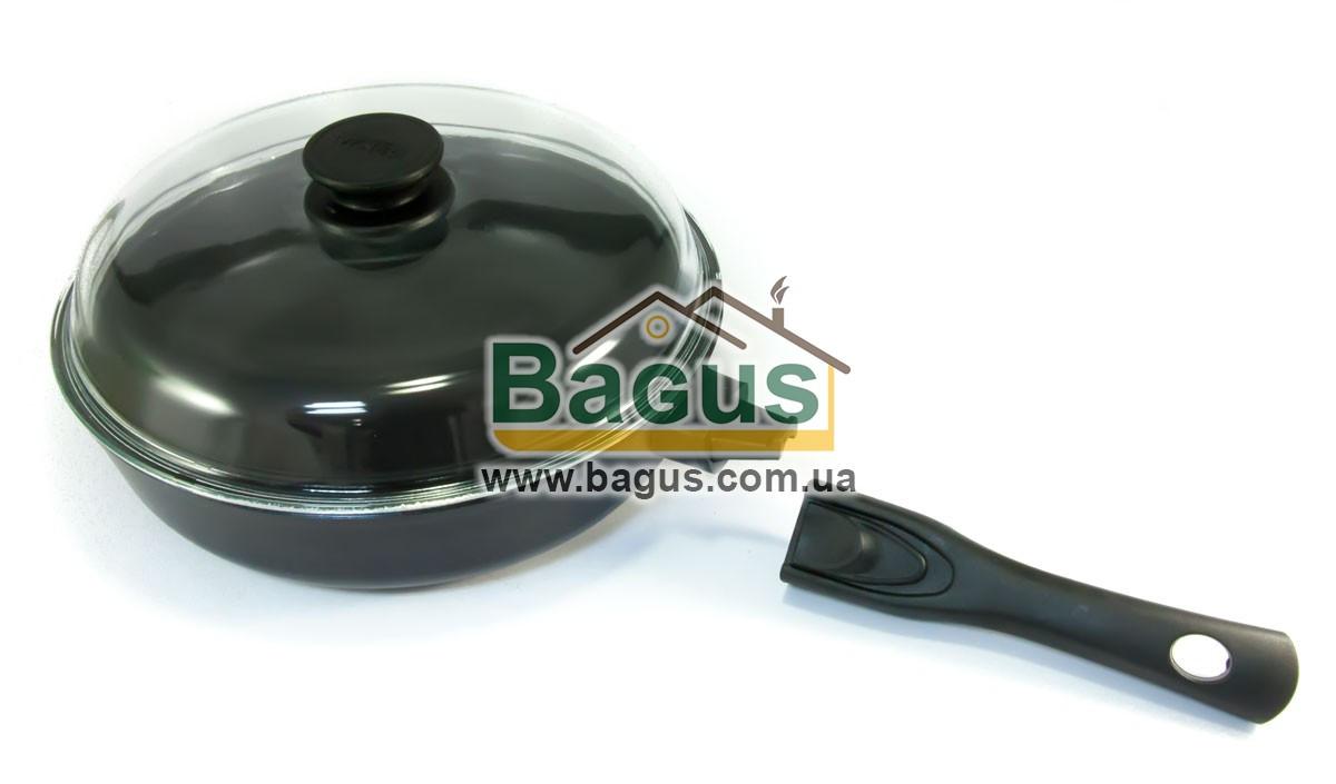 Сковорода (d-26см, h-6,8см) с антипригарным покрытием, крышкой и съемной ручкой Биол (26071PC)