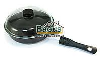 Сковорода (d-26см, h-6,8см) с антипригарным покрытием, крышкой и съемной ручкой Биол (26071ПС)