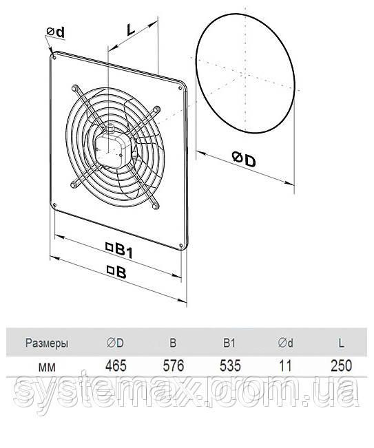 Размеры (параметры) вентилятора ВЕНТС ОВ 4Д 450