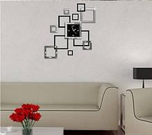 """Годинник дзеркальні """"квадрати дзеркальні чорно-сріблясті"""" , годинник наклейки квадрати, фото 2"""