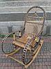 Плетеная кресло-качалка из лозы+ коричневый ротанг розборное