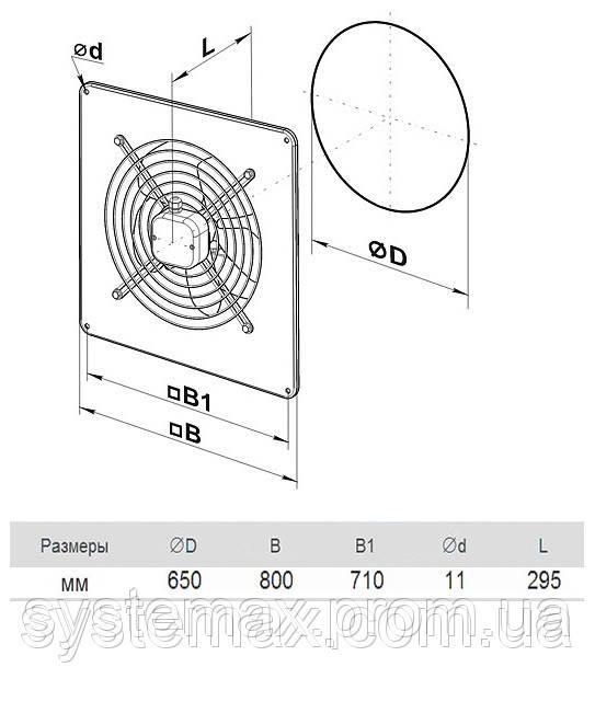 Размеры (параметры) вентилятора ВЕНТС ОВ 6Е 630