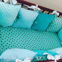Бортики в детскую кроватку для новорожденных. Комплект 12 гипоаллергенных подушек, фото 1
