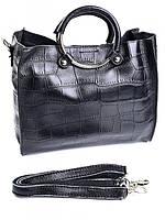 Женская кожаная сумка с ручкой кольцом черная GW-6812
