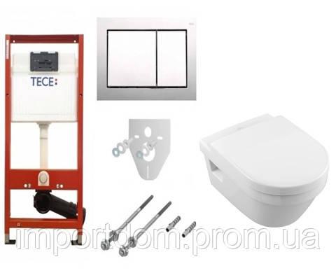 Унитаз подвесной Villeroy & Boch O.NOVO 5688H101 с крышкой Soft Close + Инсталляция TECEbase kit 4 в 1