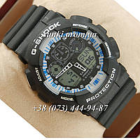 Неубиваемые спортивные наручные часы Casio G-shock GA-100 Black/Black/Blue