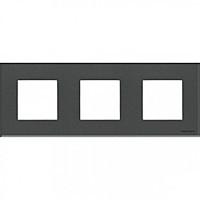 Рамка 3 поста АВВ Zenit Стекло Графит (N2273 CF)