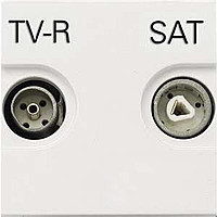 Розетка проходная TV-R-SAT ABB Zenit Белая (N2251.8 BL)
