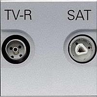 Розетка проходная TV-R-SAT ABB Zenit Серебро (N2251.8 PL)