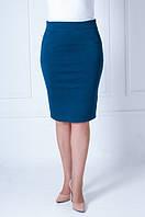 Однотонная женская юбка из плотного трикотажа