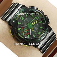Неубиваемые спортивные наручные часы Casio G-shock GA-110 Casio Black/Black/Green