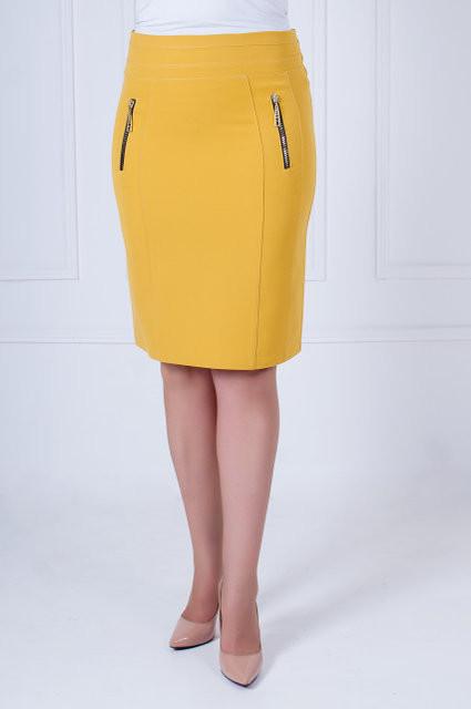 Яркая женская юбка горчичного цвета