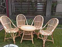 Плетеный набор из лозы 4 кресла + журнальный стол