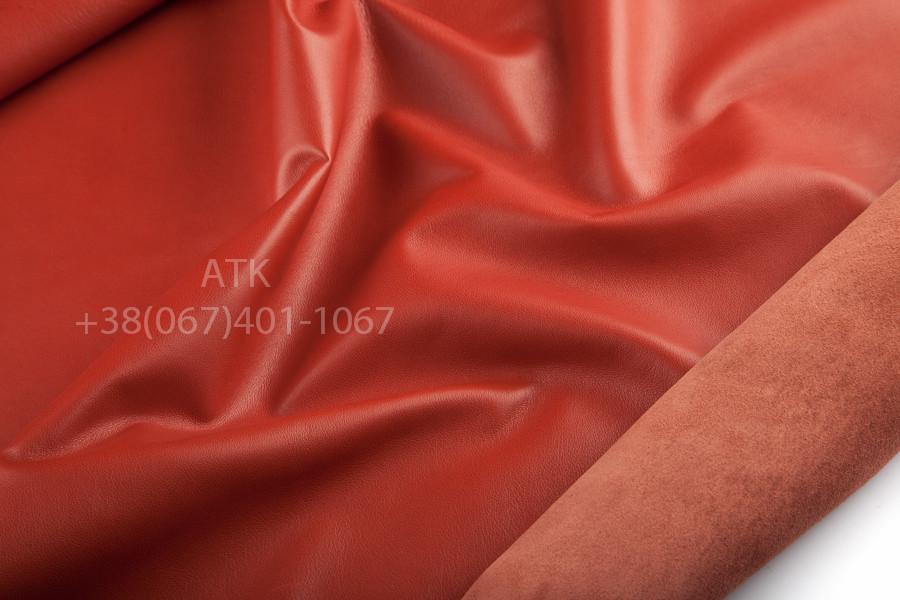 Кожа одежная наппа красно-оранжевая
