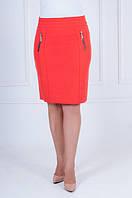 Коралловая юбка из костюмной ткани