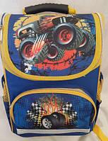 Рюкзак ортопедический каркасный для мальчиков Monster Truck, сине-желтый