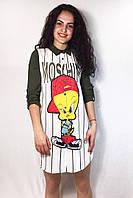 """Молодежная удлиненная рубашка в полоску """" Moshino """", фото 1"""